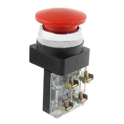"K9 AC 600V 6A 38mm 1.5"" Red Sign Momentary Mushroom Push Button Switch 1 NO 1 NC"