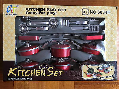 14Pcs Kids Kitchen Play Set Cookware Cooking Pots Pans Pretend Play Toy Gift
