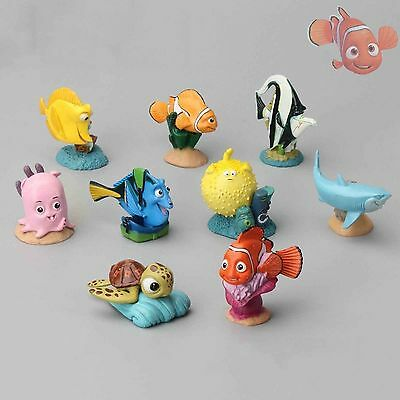 9Pcs Cute Finding Nemo PVC Figure Set Toy Cake Topper Marlin Dory Bruce Clown