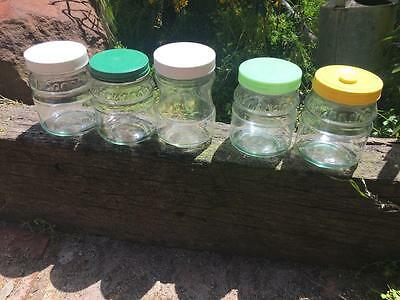 Vintage Rare Glass Jars/canisters (5) Collectable Coloured Lids/plastic- Buy No