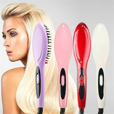 Electric Hair Straightener Comb Iron Brush Auto Styling Hair Massager Tools Gift