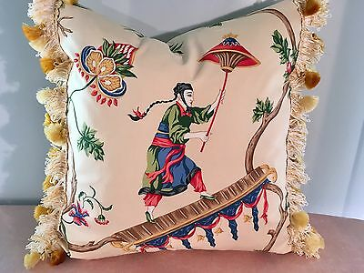 "Scalamandre ""ming Circus"" Chinoiserie With Scalamandre Silk Trim Pillow"