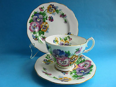 Queen Anne Trio Tea Cup Saucer & Plate Spring Melody Pansys