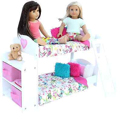 20 Pc. Bedroom Set for 18 Inch American Girl Doll. Includes: Bunk Bed, Bookshelf