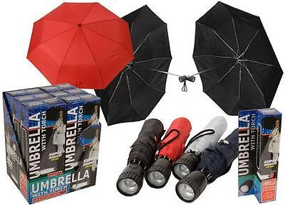 "21""umbrella With Cover, Strap, Torch Folding Bright Led Light Men / Women Black"