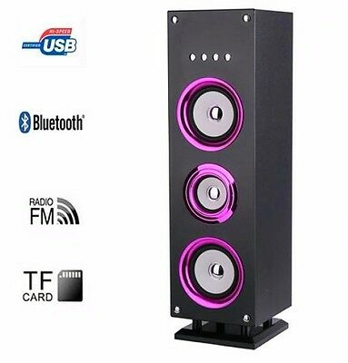 Purple Tower Bluetooth LED Speaker Clear Sound Remote Control 25W