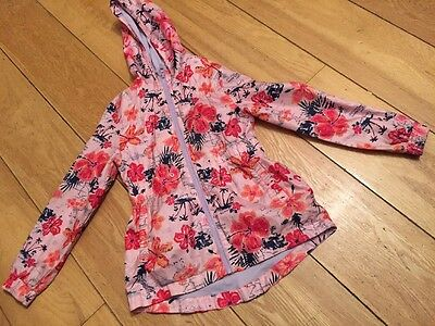 Girls Pink Floral Pattern Coat With Hood Lilac Lining George 9-10 Years