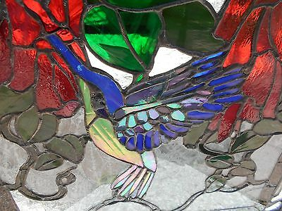 Stained Glass Window Panel Suncatcher Artist Signed Hummingbird