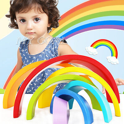 7 Colour Wooden Stacking Rainbow Kid Children Educational Toy Set Christmas Gift