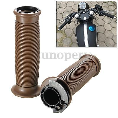 Motorcycle 7/8'' Brown Silicone Handlebar Hand Grips For Cafe Racer Bobber BMW