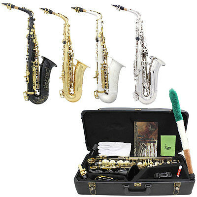 WSS-896 Professional bE Alto Saxophone With Hard Case Black Gold Silver White