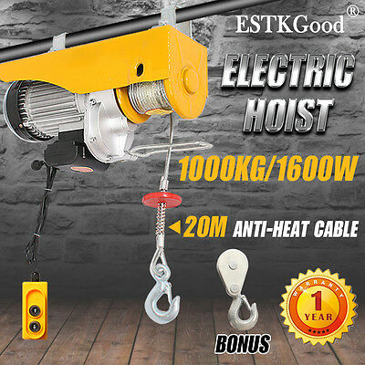 500/1000KG Electric Hoist Winch 20M Rope Lift Remote Chain Lifting Cable Tool