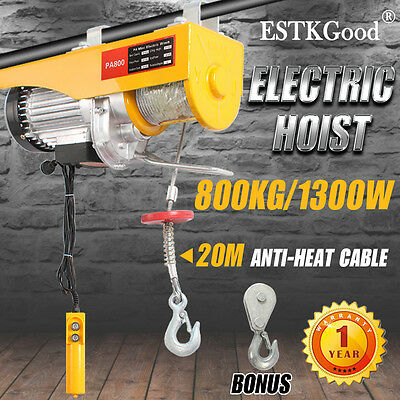 OZ Electric Hoist Winch 400/800KG Rope Lift Tool Remote Chain Lifting Cable Home