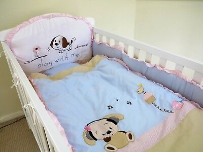 NEW  COT 6 PCS  BEDDING SET BUMPER blanket baby gift pillar sheet dog