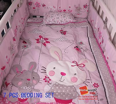 NEW  COT 8 PCS  BEDDING SET BUMPER rabbit pink blanket baby gift pillar sheet