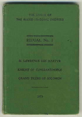 Ritual No.1, The Order of the Allied Masonic Degrees (1973 HB Book) Freemasons