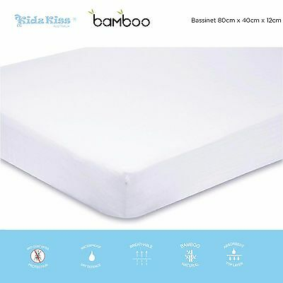 KIDZ KISS Bamboo Waterproof Fitted Mattress Protector / Cover [Bassinet]