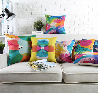 Watercolor geometric dots triangles cross leaf Cushion Cover  throw pillow Case