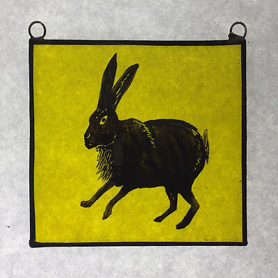 Hare Stained Leaded Glass Window Panel Hand-Painted Suncatcher