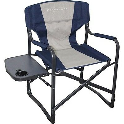 Wanderer Directors Chair with Side Table  - Navy Beige