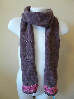 Bnwt Monsoon Girls Purple Pink Wool Angora Floral Crochet Scarf One Size