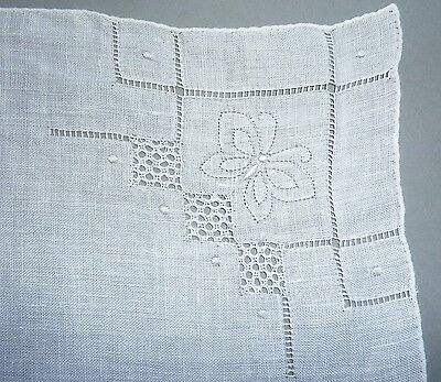 Vintage White Cotton Drawn Handkerchief W/ Butterfly Deco