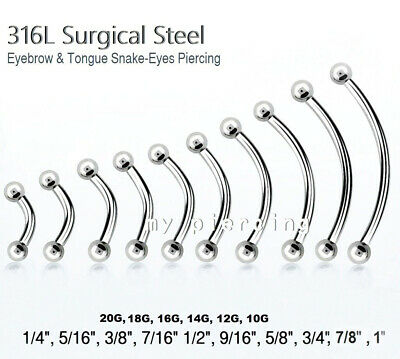 20g 18g 16g 14g 12g 10g Curved Barbell Eyebrow Ring Tongue Snake-Eyes Piercing