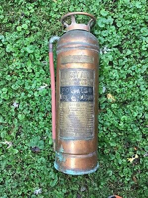 WD Allen Mfg First Aid Fire Extinguisher Copper Brass Patina Antique Decor