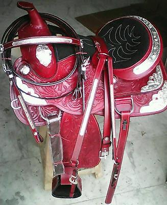 "16""silver fitting western tack trail pleasure show leather horse cowboy saddle"
