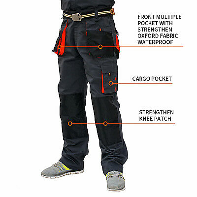 UK Mens Work Trousers Heavy Duty Pants KneePad Cargo Combat Style Multi Pockets.