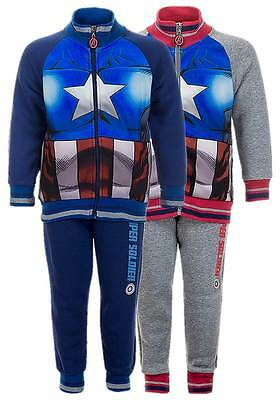NEW Official Licensed Boys Captain America 2 Piece Fleece Lined Tracksuit 3-8yrs