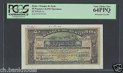 Syria Syrie 50 Piasters 1-8-1919 P3s  Specimen Uncirculated