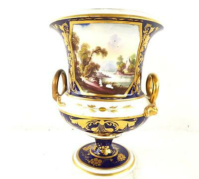 C1830 ANTIQUE BLOOR DERBY PORCELAIN CAMPANA VASE VIEW IN WALES g