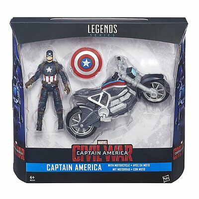 Marvel Legends Captain America Figure and Motorcycle Civil War Series Licensed