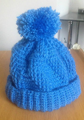 Handmade in Crochet Pom Pom Hat in Blue One Size fits most ages ( 3 - teenager )