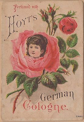 Victorian Trade Card-Hoyt's German Cologne-Lowell, MA-Girl's Head in Rose