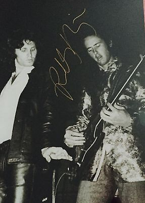 Robbie Kreiger The Doors Signed Autographed Guitar 11x14 Photo with Jim Morrison