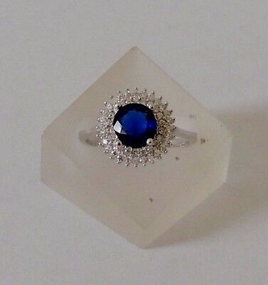 925 STERLING SILVER ROUND SAPPHIRE RING size P1/2 (everyday wear)