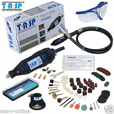 TASP 130W Dremel Rotary Power Tool 220V 5 Variable Speed Mini Drill Set 140PCs