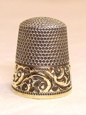 Antique Ketcham & McDougall Gold Band Sterling Silver Thimble  Acanthus Leaf