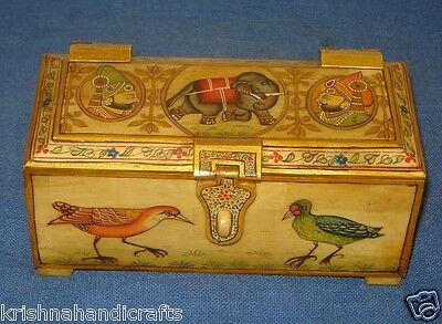 Vintage Look Decorative Hand Painted Solid Camel Bone Trinket Collection Box