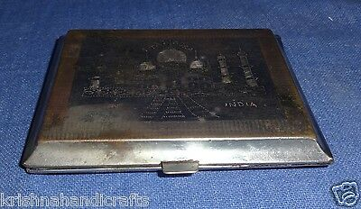 Vintage Old Collectible Hand Carved India Map Taj Brass Cigarette Case Box