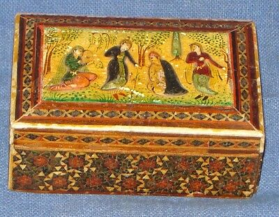 Antique Old Rare Persian Hand Painted With Inlay Work Small Size Trinket Box