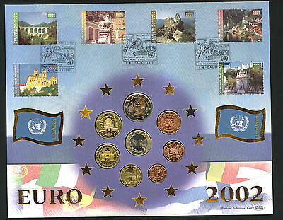 2002 Euro - Coin Cover - Set of 8 Euro Coins (United Nations) & Vienna Pmk