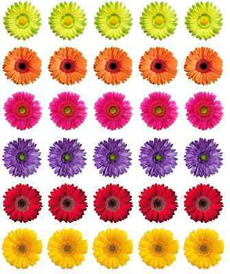 30 x Gerbera Flowers Edible Cupcake Toppers Wafer Paper Fairy Cake Topper