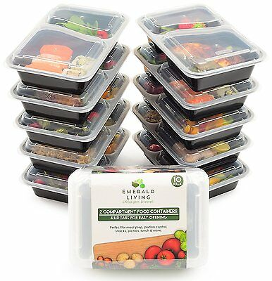 2 Compartment Meal Prep Food Containers Bento Box Tupperware Set with Lids,10pcs
