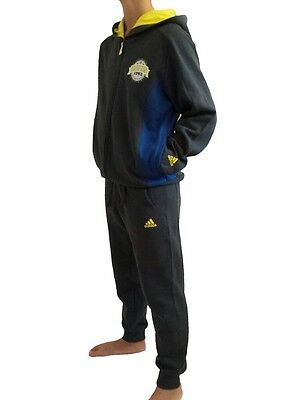 adidas boys grey hooded zip up tracksuit. Jogging suit. Various sizes!