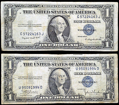 Series 1935 C, G, US Silver Certificate Blue Seal $1 Dollar Notes, Lot of 2
