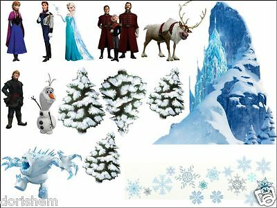 Edible Topper FROZEN SCENE  and FREE 20 snow flakes 25mm