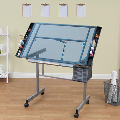 Glass Top Rolling Drafting Table Draw Art Design Trace Office Home Desk Tilt New